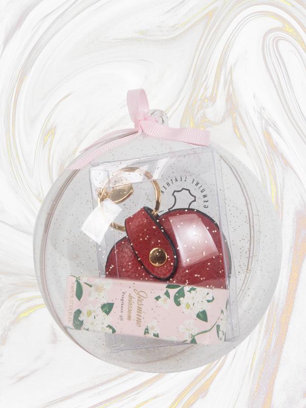 Yasemin Çiçeği Kokulu Parfüm Yağı ve Deri Kalp Anahtarlık