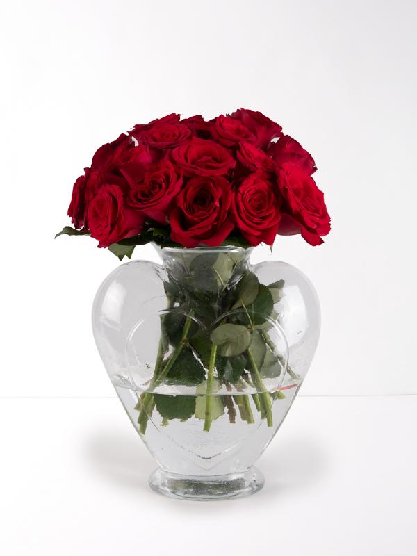 Kalpli Vazoda21 Kırmızı Gül