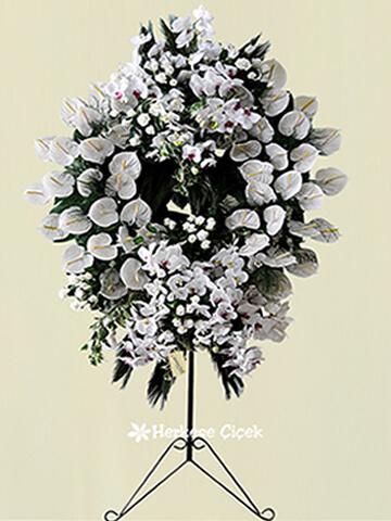 Beyaz Antoryum ve Orkide Ferforje Aranjmanı