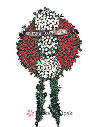 Beyaz ve Kırmızı Karanfil Cenaze Çelenkleri