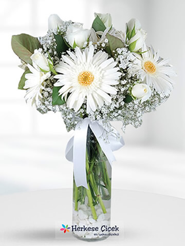 Düş Perisi Beyaz Güller ve Gerberalar