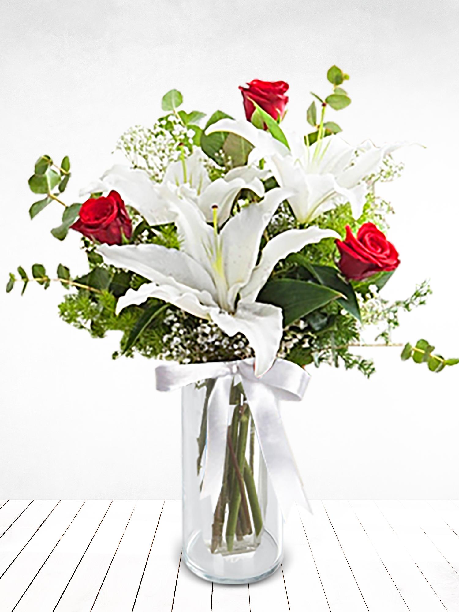 Kırmızı Gül ve Lilyum Aranjmanı